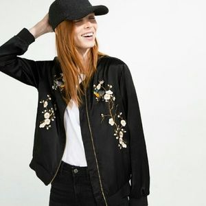 ZARA embroidered black bomber jacket with flowers